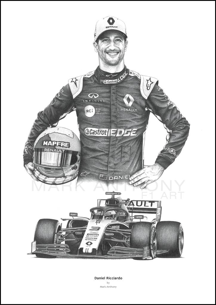 Daniel Ricciardo Renault Rs19 F1 Formula 1 Art By Mark Anthony