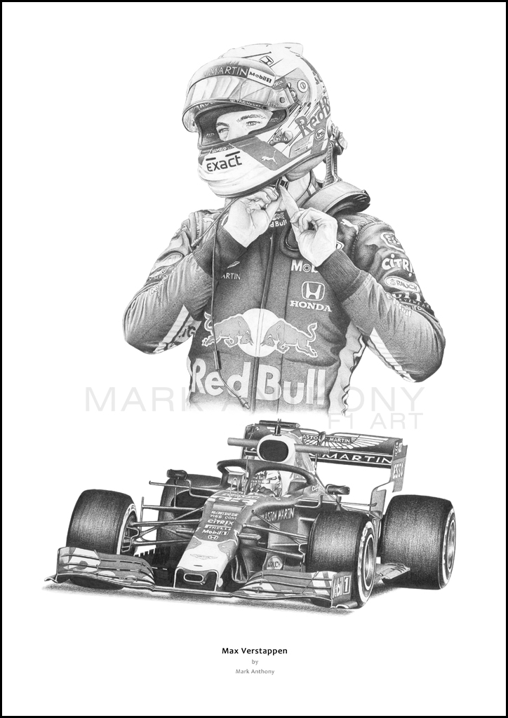 Max Verstappen Red Bull Rb15 Formula 1 Art By Mark Anthony